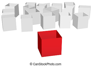Empty shipping cartons one red box front