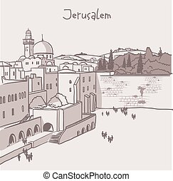 Jerusalem, Israel old city skyline. Wailing wall. Handmade...