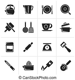 kitchen gadgets icons - Black kitchen gadgets and equipment...
