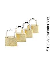 Golden closed padlocks on white
