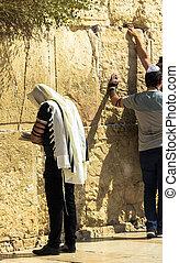 Jewish worshiper at Western wall - Unidentified jewish...