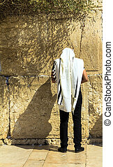 Jewish worshiper at Western wall - Unidentified jewish...
