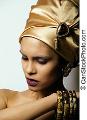 beauty african woman in shawl on head, very elegant look...