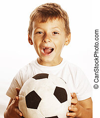 little cute boy playing football ball isolated close up on...