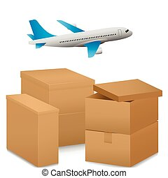 Air delivery illustration - Air delivery express. Airplane...