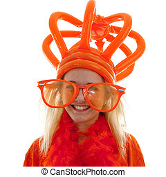 Young woman as Dutch orange supporter with crown