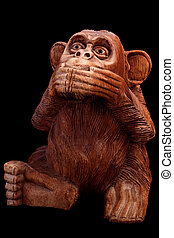 Statuette of a monkey - The statuette of the monkey. Wooden...
