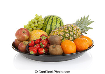 Big plate with lots of healthy fruits