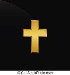 Golden cross icon - Golden metal cross. Religion power...