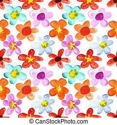 Flowers of different colors seamless - Watercolor flowers of...