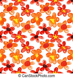 Red flowers seamless - Red watercolor flowers - seamless...