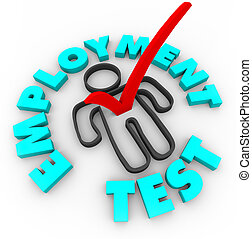 Employment Test - Check Mark and Box - A red check mark in a...