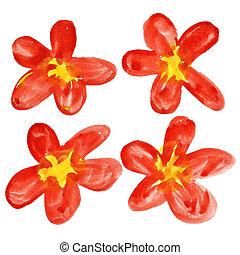 Red watercolor flowers - Set of red watercolor flowers...