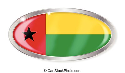 Guinea Bissau Flag Oval Button - Oval silver button with the...
