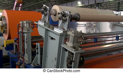 Production of sandwich panels Machine, close-up - Production...
