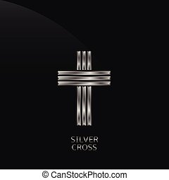 Silver cross - Silver metal cross. Religion power luxury...