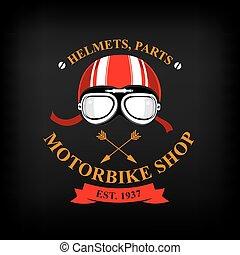Vector label, motorbike shop.