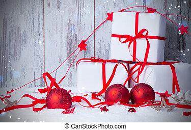 v - Christmas decoration, Holiday background with wood