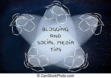 Spotlights with text Blogging and Social Media Tips -...