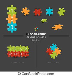 Vector puzzle elements for your infographics