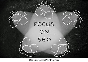 Spotlights with text Focus on SEO - Focus on SEO:...