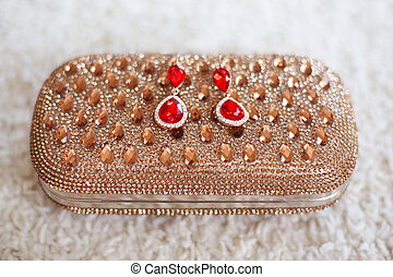 fashion earrings with red rubies jewels and diamonds on...