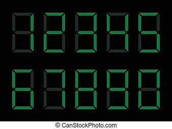 Digital Numbers - Green digital numbers Calculator display,...