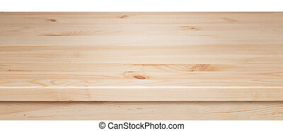 table top - wooden table top isolated on white background