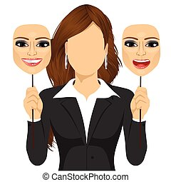 faceless woman holding happy and angry mask - faceless woman...