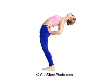 Yogi female doing half wheel pose - Sporty beautiful young...