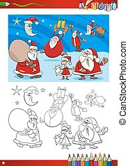 santa clauses coloring page