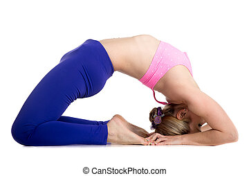 Kapotasana Pose - Sporty beautiful young blond woman doing...