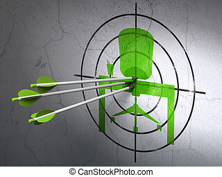 Finance concept: arrows in Office target on wall background