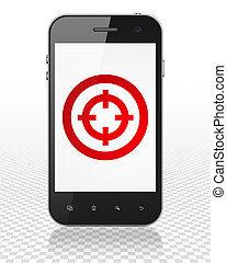 Finance concept: Smartphone with Target on display