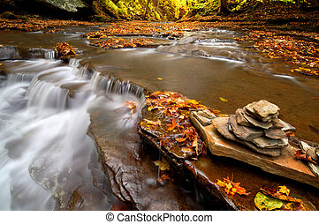 Autumn Waterfall Cairn - A small waterfall on Brandywine...