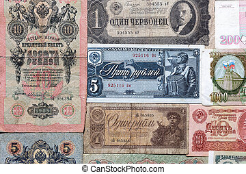 Old russian money - old banknotes of different years of...