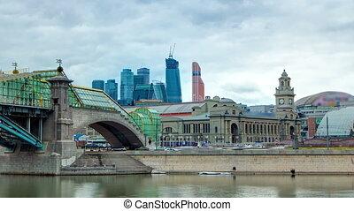 Kievskiy railway station and bridge of Bogdan Khmelnitskiy timelapse hyperlapse, Moscow, Russia.
