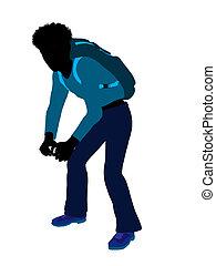 African American Teen Hiker Silhouette