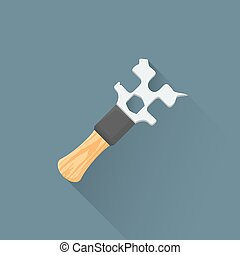 vector flat coffee machine wrench illustration icon - vector...