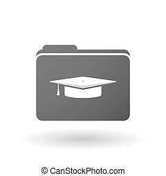 Isolated binder with a graduation cap