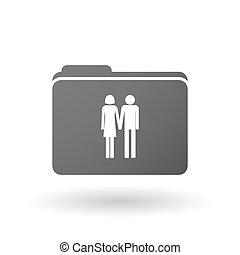 Isolated binder with a heterosexual couple pictogram -...