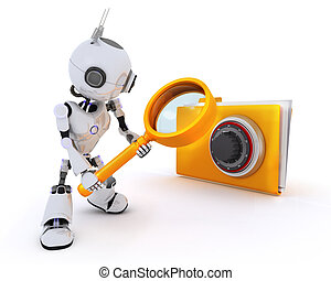 Robot searching files - 3D Render of a Robot searching files