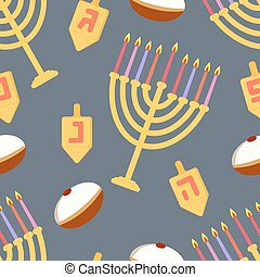 Hanukkah seamless pattern Seamless pattern with menorah,...