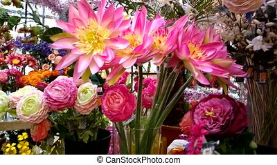 Large bouquet of beautiful red and yellow chrysanthemums in...