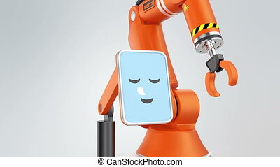 Robotic arm with monitor which showing smile face icon. User...