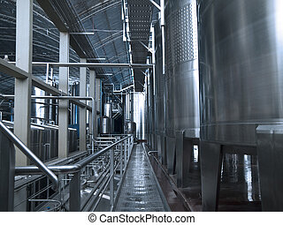 Wine making equipment - Stainless steel wine vats in a row...