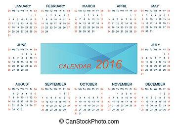 semana, Comienzos, domingo,  vector, plantilla, calendario,  2016