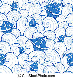 Marine background - Marine seamless pattern Shis and waves...