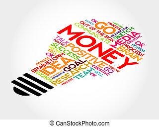 Money bulb word cloud, business concept