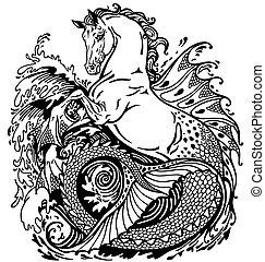mythological hippocampus - hippocampus or kelpie...
